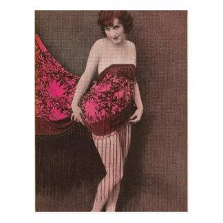 Vintages Retro Kitsch-Button herauf Postkarte des