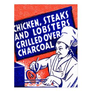 Vintages Retro Kitschmatchbook-Kochs-Hummer-Steak Postkarte