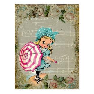 Vintages Retro Kitschy Kind auf der Postkarte