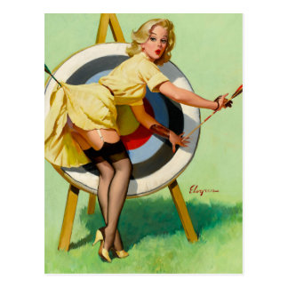 Vintages Retro Pinup-Kunst Gil Elvgren Button Postkarte