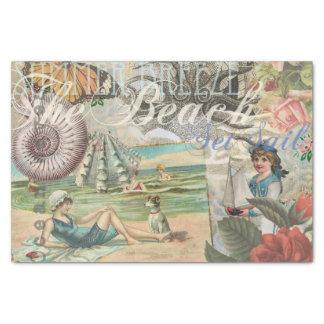 Vintages retro viktorianisches des Sommerstrandes Seidenpapier