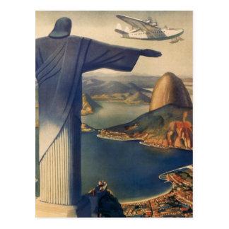 Vintages Rio de Janeiro Christus die Postkarte