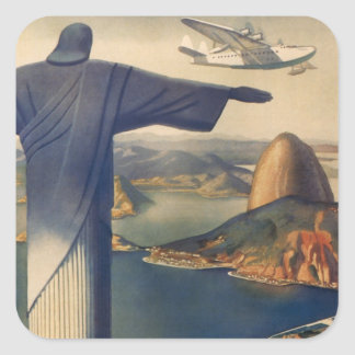Vintages Rio de Janeiro Christus die Redeemer-Sta Quadrataufkleber