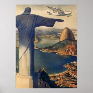 Vintages Rio de Janeiro Christus die Redeemer-Sta Plakat