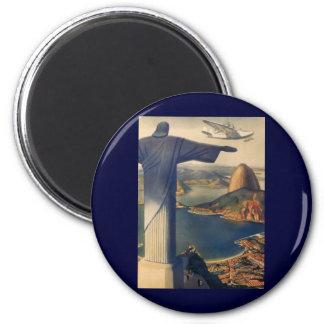 Vintages Rio de Janeiro, Christus die Runder Magnet 5,7 Cm