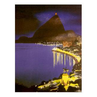 Vintages Rio de Janeiro nachts Postkarte