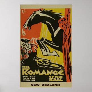 Vintages Romance der Schienen-Neuseeland-Reise Poster