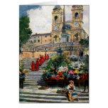 Vintages Romwatercolor Trinita dei Monti Mitteilungskarte