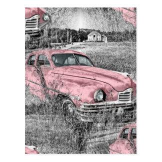 Vintages rosa Auto Postkarte