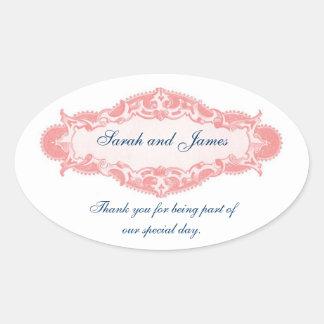 Vintages rosa Blau dankt Ihnen Hochzeits-Aufkleber Ovaler Aufkleber