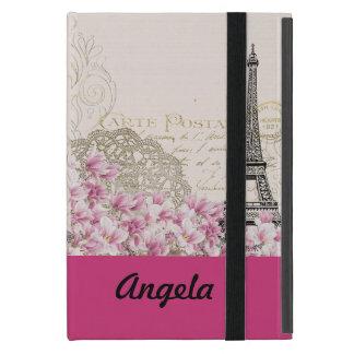 Vintages rosa Blumen, hina Muster-Eiffel-Turm iPad Mini Schutzhülle