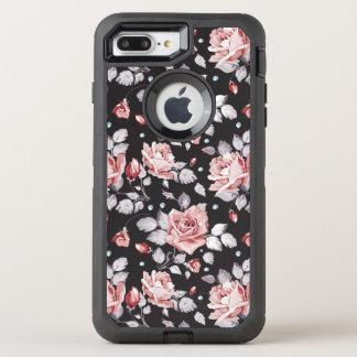 Vintages rosa Blumenmuster OtterBox Defender iPhone 8 Plus/7 Plus Hülle