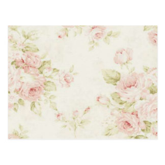 Vintages rosa Rosen-Blumen-Shabby Chic mit Blumen Postkarte