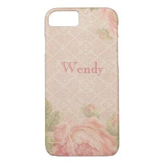 Vintages rosa Rosen-Gitter personalisiert iPhone 8/7 Hülle