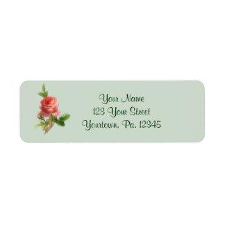 Vintages Rosen-Adressen-Etikett Rücksende Aufkleber
