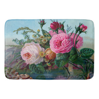 Vintages Rosen-Blumen-Muster Badematte