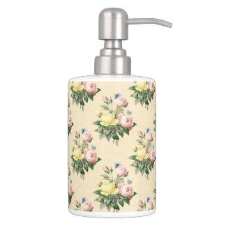 Vintages Rosen-Blumenmuster-Bad-mit BlumenSet Badsets