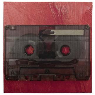 Vintages Rot der Kassettenband-Musik Serviette
