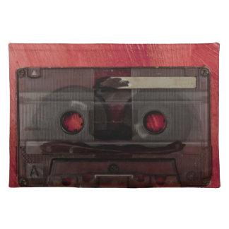 Vintages Rot der Kassettenband-Musik Stofftischset