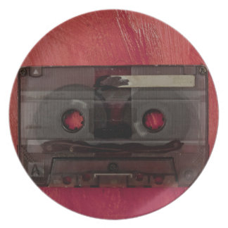Vintages Rot der Kassettenband-Musik Teller