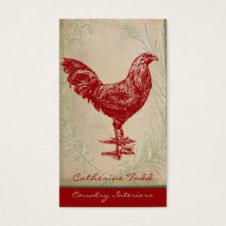 Vintages rotes Hahn-Shabby Chic-Innenarchitektur Visitenkarte
