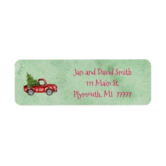 Vintages rotes LKW-Adressen-Etikett Rücksendeetikett