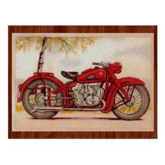 Vintages rotes Motorrad Postkarte