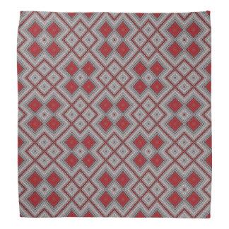 Vintages rotes und graues geometrisches abstraktes kopftuch