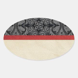 Vintages Rotes und schwarz Ovaler Aufkleber