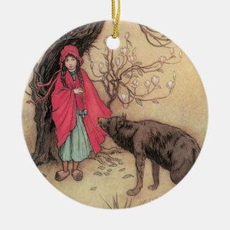 Vintages Rotkäppchen durch Warwick Goble Keramik Ornament