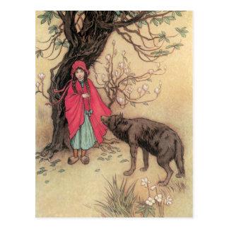 Vintages Rotkäppchen durch Warwick Goble Postkarte