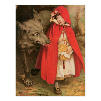 Vintages Rotkäppchen und großer schlechter Wolf Postkarte