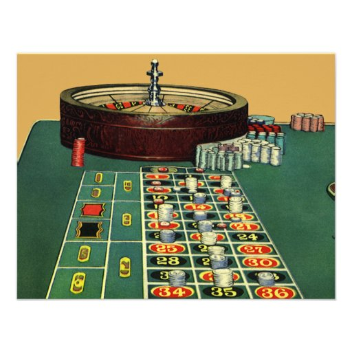 Vintages Roulette-Tabellen-Kasino-spielendes Einladungskarte