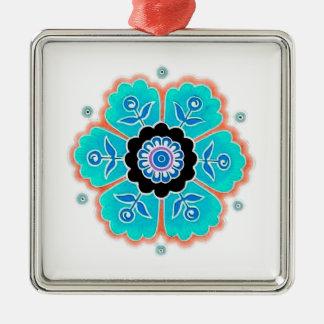 Vintages rundes Blumen-Muster Quadratisches Silberfarbenes Ornament