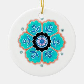 Vintages rundes Blumen-Muster Rundes Keramik Ornament