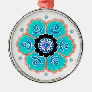 Vintages rundes Blumen-Muster Rundes Silberfarbenes Ornament