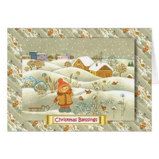 Vintages russisches Weihnachten, Mädchen mit einem Karte