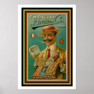 Vintages russisches Zigaretten-Anzeigen-Plakat 13 Poster