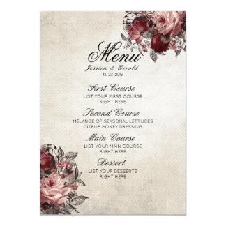 Vintages rustikales Rosen-Blumen-Hochzeits-Menü Karte