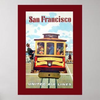 Vintages San Francisco Drahtseilbahn-Reise-Plakat Poster