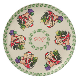 Vintages Sankt-Elefant-Jahr-Weihnachtsandenken Melaminteller