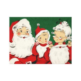 Vintages Sankt-Familien-Weihnachten Leinwanddruck