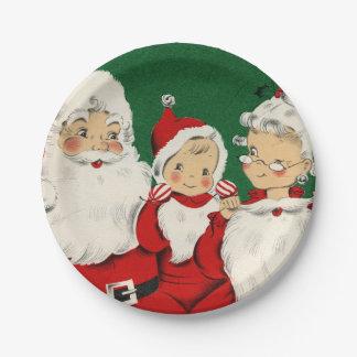 Vintages Sankt-Familien-Weihnachten Pappteller