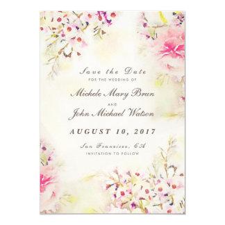 Vintages Save the Date mit BlumenFoto-flache Karte 12,7 X 17,8 Cm Einladungskarte