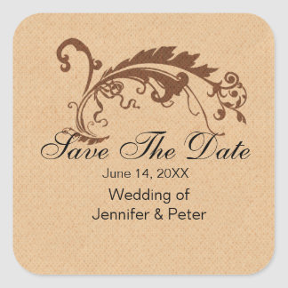 Vintages Save the Date Wedding Quadratischer Aufkleber