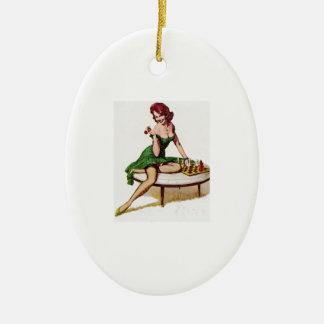 Vintages Schach-Button herauf Mädchen Ovales Keramik Ornament