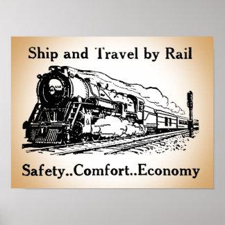 Vintages Schiff und Reise durch Schiene Poster