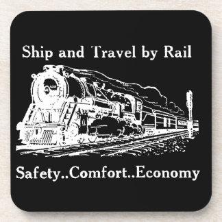 Vintages Schiff und Reise durch Schiene Untersetzer
