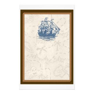 Vintages Schiffs-Schatz-Karten-nautischbriefpapier Druckpapier