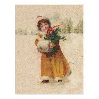 Vintages Schnee-Kind im gelben Mantel Postkarte